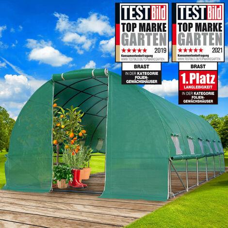 Serre Tunnel 18m² (3x6) extrêmement stable parois enroulables croissance optimale des plants, aération optimale, montage rapide - 18 m² serre de jardin de BRAST