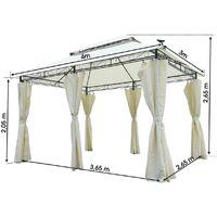 Tonnelle de jardin 3x4 2,65H beige, LED, très stable imperméable, 100% acier revêtu de PA - Tonnelle Easiness 3x4m - Pavillon de Brast