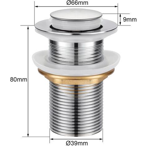 Cikuso 8cm Bonde Pop-up Automatique Pr Evier Lavabo Sans Trop-plein