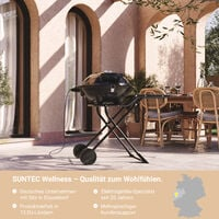 SUNTEC Barbecue sur pied electrique BBQ-9493 [Convient également comme Grill de table électrique à barbecue, avec étagère, thermostat réglable, max. 2400 W]