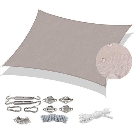 Voile d'ombrage PES 2×3m avec kit de montage, Taupe