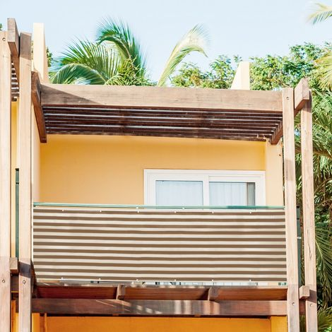 Brise-Vue renforcé HDPE 220 g/m² avec Oeillets, Attaches de câble et Cordons,Rayures marron-jaune, 0.75 x 6 m
