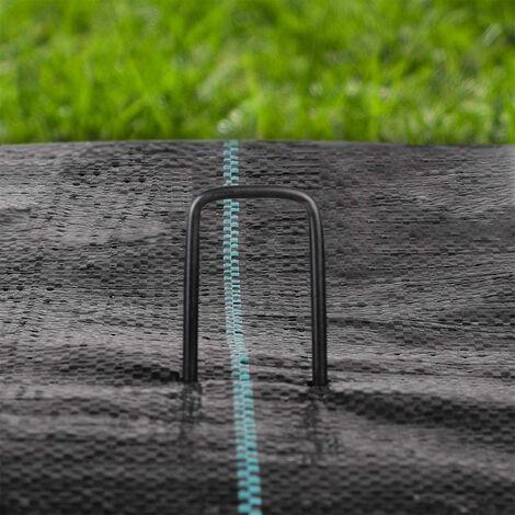Sekey Lot de 100 Piquets de fixation multi-usages en fil d'acier noir idéal pour sécuriser l'aménagement paysager des mauvaises herbes et les non-tissés 150x25mm ø2.7mm
