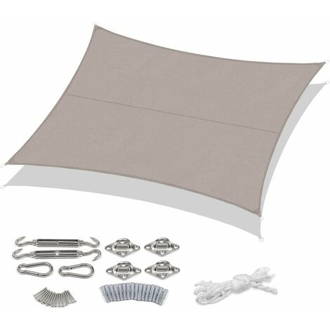 Sekey Voile d'ombrage PES avec kit de montage 4×5m, Taupe