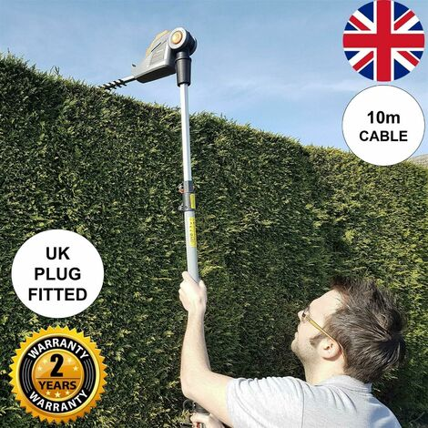 Terratek 2.75m 550W Electric Long Reach Corded Pole Hedge Trimmer Telescopic Extendable Pole 450mm Cutting Length 10m Cable, 4 Positions for Tall Hedges, Hedge Cutter Includes Shoulder Strap