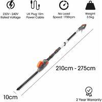 Terratek 2.75m 550W Electric Long Reach Corded Pole Hedge Trimmer Telescopic Extendable Pole 10m Cable