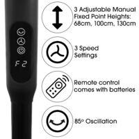 Futura Black 16inch Oscillating Pedestal Standing Fan with Timer Adjustable 68-130cm