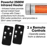 Futura 2500W Patio Heater Wall Mounted Electric Infrared Outdoor Garden with Remote Control