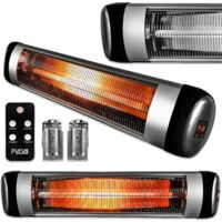 Futura Purus 2500 Patio Heater Wall Mounted Electric Infrared Outdoor Garden Heater, Bathroom Heater Remote Control