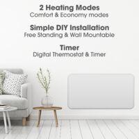 Cozytek 2000W Eco Panel Heater Bathroom Safe Setback Timer Wall Mounted Lot 20 Low Energy Electric Heater