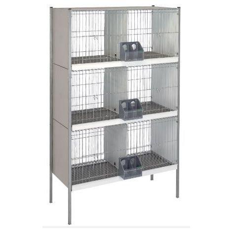 Cage arriere-fil d'acier. avec pieds -3 étages