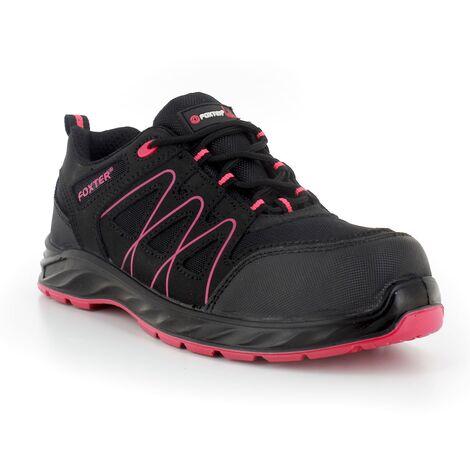 Foxter - Chaussures de sécurité   Femmes   Basses   Baskets de Travail   Légères et Respirantes   Sans métal   Cuir Noir   S1P SRC 36 Noir - Noir