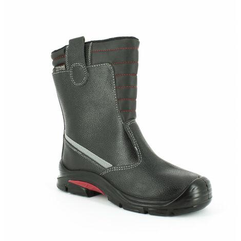 Foxter - Chaussures de sécurité   Hommes   Montantes   Légères et Respirantes   Imperméable   Sans métal   Cuir Noir   S3 SRC CI 48 Noir - Noir