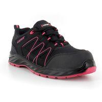 Foxter - Chaussures de sécurité | Femmes | Basses | Baskets de Travail | Légères et Respirantes | Sans métal | Cuir Noir | S1P SRC 41 Noir - Noir