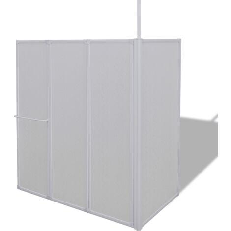 Cloison de salle de bain pare baignoire 4 volets angle 120 cm - Noir