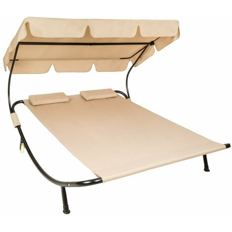 Bain de soleil chaise longue transat 2 places avec pare-soleil 2 places beige - Beige