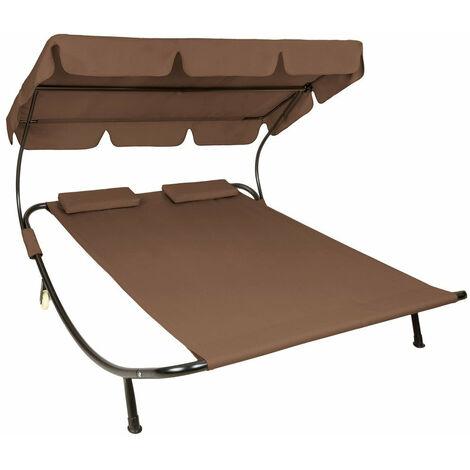 Bain de soleil chaise longue transat 2 places avec pare-soleil 2 places marron - Marron