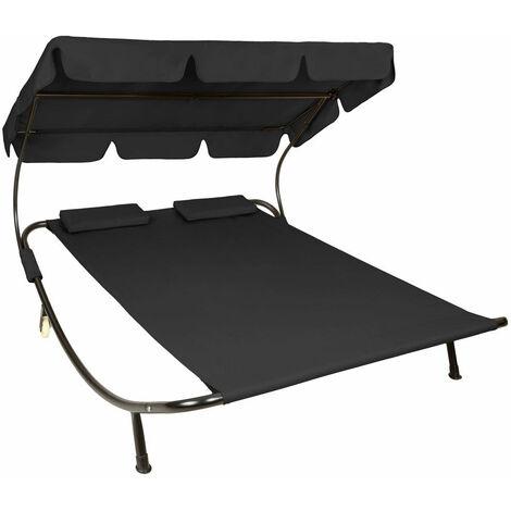 Bain de soleil chaise longue transat 2 places avec pare-soleil 2 places noir - Noir