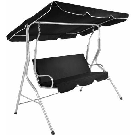 Balancelle sur pied assise fauteuil meuble jardin 3 personnes noir - Noir
