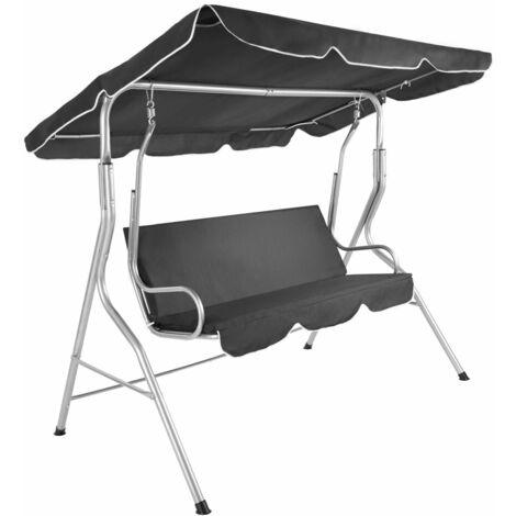 Balancelle sur pied assise fauteuil meuble jardin 3 personnes gris - Gris