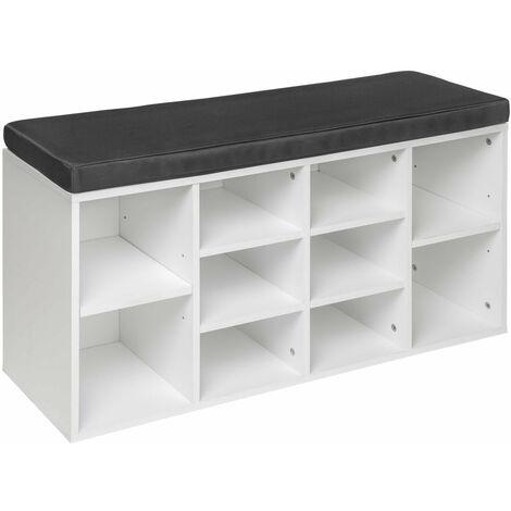 Meuble à chaussures étagère meuble banc gris/blanc - Blanc