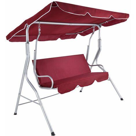 Balancelle sur pied assise fauteuil meuble jardin 3 personnes rouge bordeaux - Bordeaux