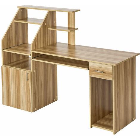 Bureau informatique meuble 164,5 x 55 x 114,5 cm marron hêtre - Marron