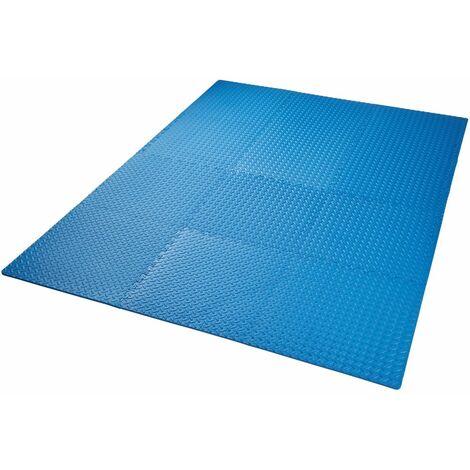 Ensemble de 12 dalles carrées eva tapis de sol sport bleu - Bleu