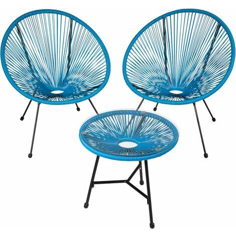 Salon de jardin ensemble table et chaises de jardin bleu - Bleu