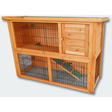 Cabane clapier à lapins rongeurs poulailler lapinière ou autres petits animaux en bois 1115 x 450 x 803 mm - Bois