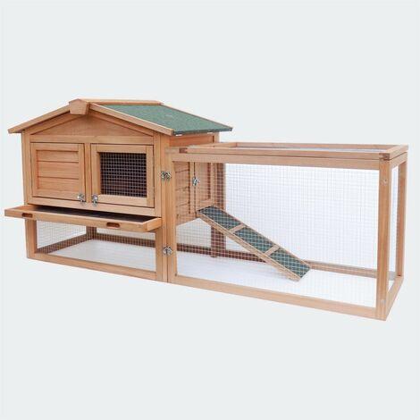 Cabane clapier à lapins rongeurs poulailler lapinière ou autres petits animaux en bois 1560 x 520 x 680 mm - Bois