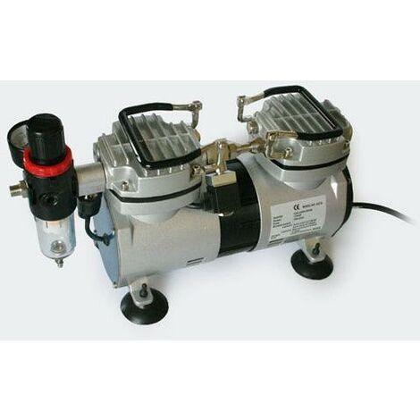 Compresseur aérographe bicylindre avec séparateur d'eau et régulateur de pression