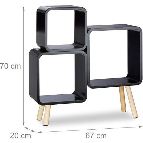 Système étagère 3 cubes bibliothèque bois MDF 4 pieds commode tablette noir - Bois