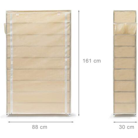 Meuble étagère armoire à chaussures tissu fermeture éclair 161 cm beige - Beige