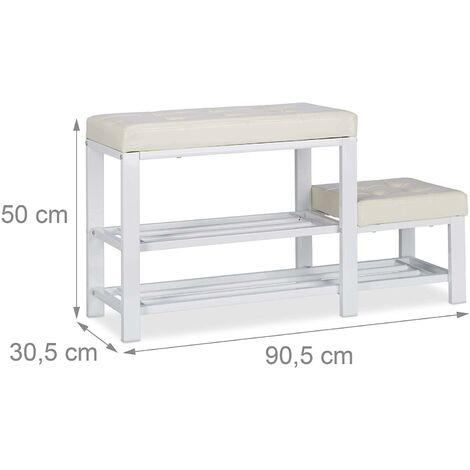 Banc d'entrée meuble chaussure banquette tabouret 90,5 cm blanc - Blanc