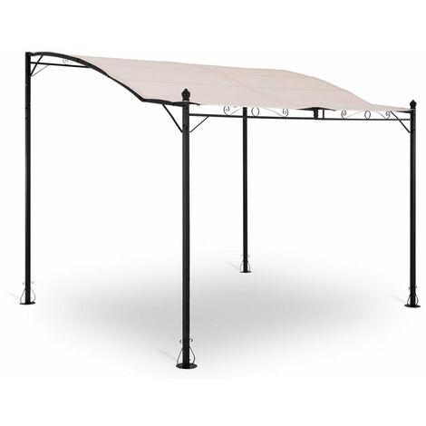 Pergola pavillon barnum tonnelle tente abri gazebo de jardin terrasse beige inclinée crème 2,6 x 3 m - Beige