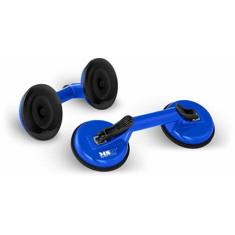 Ventouses de levage 100 kg doubles 2 unités aluminium bleu - Bleu