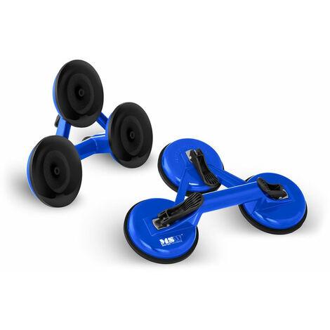 Ventouses de levage 120 kg triples 2 unités aluminium bleu - Bleu