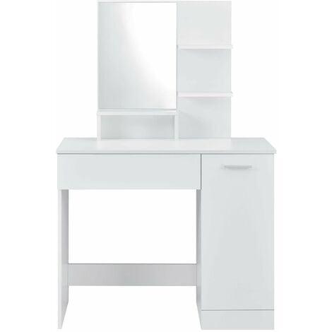 coiffeuse design avec miroir tiroir étagères commode de coiffure 138 cm blanc - Blanc