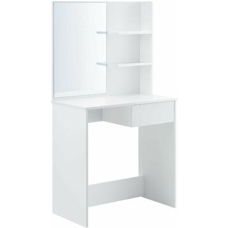 Coiffeuse design avec miroir tiroir étagères commode de coiffure stylée 141 cm blanc - Blanc