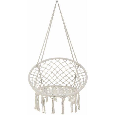 Hamac siège rond chaise suspendue jusqu à 150kg diamètre d assise 60cm crème - Crème