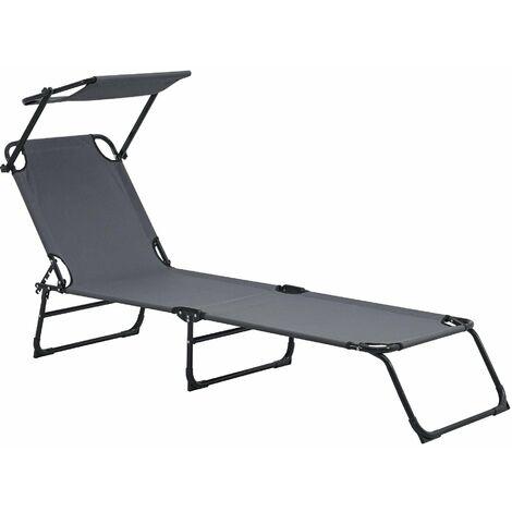 Bain de soleil transat chaise longue pliable avec pare soleil acier pvc polyester 187 cm gris foncé - Gris
