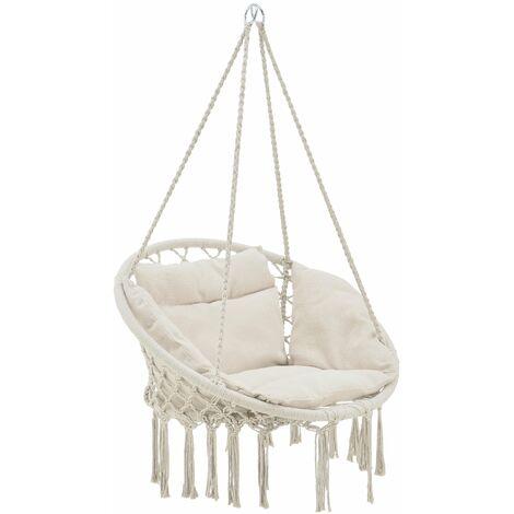 Hamac siège rond avec coussin chaise suspendue jusqu'à 150kg d'assise 60 cm crème - Crème