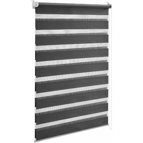 Store enrouleur zébré sans perçage pour tamiser la lumière store à chainette latérale réglage en continue bandes de tissu polyester 70 x 150 cm gris - Gris