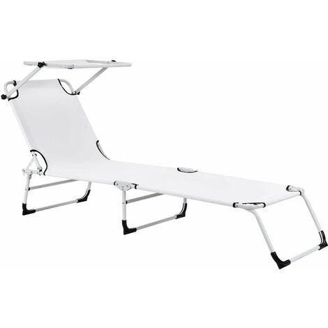 Bain de soleil transat chaise longue pliable avec pare-soleil acier pvc polyester 187 cm blanc - Blanc