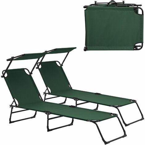 Lot de 2 transats pliable avec toiture pare-soleil de relax acier 190 cm vert foncé - Vert
