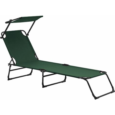 Bain de soleil transat chaise longue pliable avec pare-soleil acier pvc polyester 187 cm gris clair - Gris