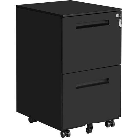 Caisson de bureau métal avec 2 tiroirs verrouillable avec roulettes pour documents de bureau dossiers suspendus pré assemblage 69,5 cm noir mat - Métal
