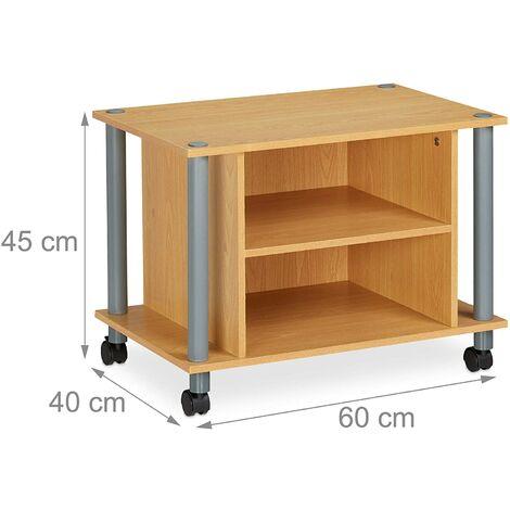 Meuble TV compartiments étagère buffet à roues pour téléviseur 60 marron - Marron