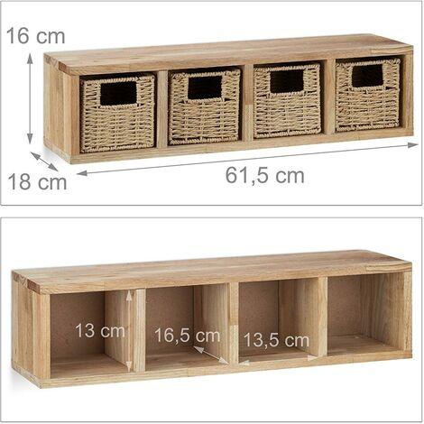 Etagere 4 cubes rangement panier amovible bois 61,5 cm - Bois